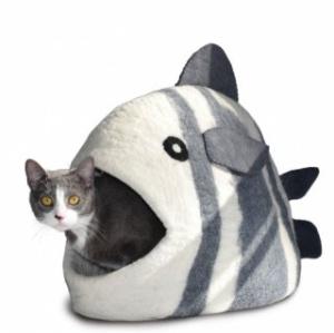 Домик-пещера Рыба для кошек и собак, гималайская шерсть, 56*25,5*36 см