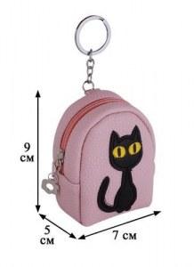6248e38ca0fb Сумочка-рюкзачок на молнии Коты с аппликацией (10 см) (ПВХ бокс)