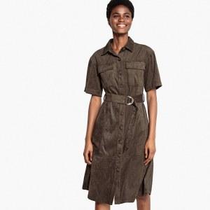 a5f2ae399c2 Платье-рубашка La Redoute С эффектом искусственной замши и застежкой на  пуговицы спереди