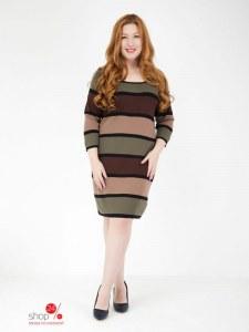04c81f6ca218d7a Трикотажное платье Klingel, цвет хаки, коричневый, полоска, 616340