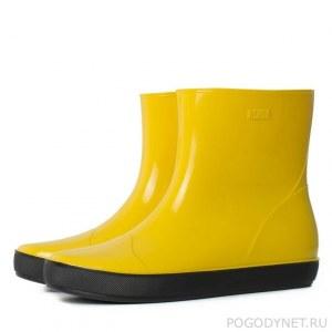 5f864be62 Женские сапожки Nordman Alida из ПВХ с утеплителем желтые с черной подошвой