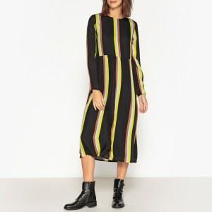 a0096413727 Платье La Redoute Прямое в полоску с длинными рукавами из шелка