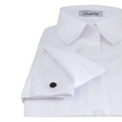 5f257d94958 Женская рубашка под запонку белая с фактурой елочка - 7301 DoubleCuff 7301