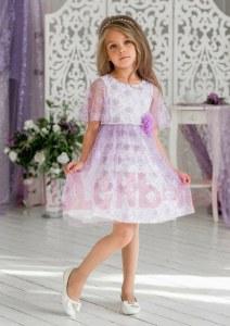 1094260d59152d1 ALOLIKA Нарядное платье для девочки Милана сиреневый (ПЛ-1927-6 98 см (