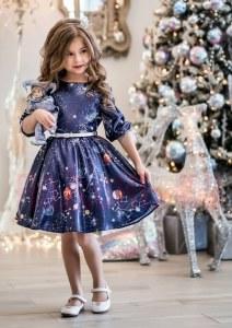 6dfb2e992fa95fd ALOLIKA Нарядное платье для девочки Лунара синий (ПЛ-1934-14 116 см (