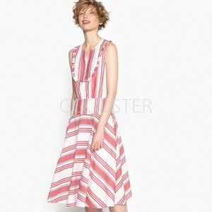 70649205af0 Платье La Redoute В полоску с воланами по низу и застежкой на пуговицы