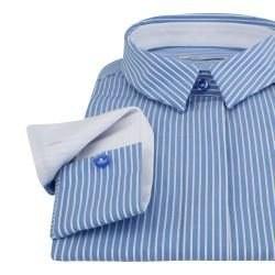 985a1e9eb1a Женская рубашка под пуговицы удлиненная в голубую полоску - 7306 DoubleCuff  7306