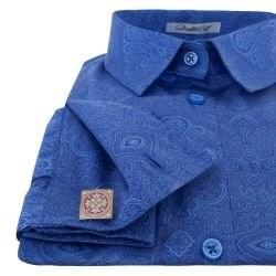 c4769b2b952 Рубашка женская синяя под запонки с красивым восточным узором - 7158  DoubleCuff 7158