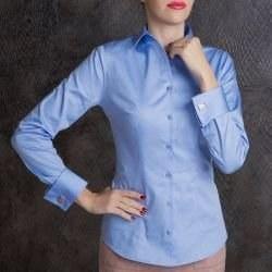 386e5734c25 Рубашка женская голубая под запонки с красивым восточным узором - 7156  DoubleCuff 7156