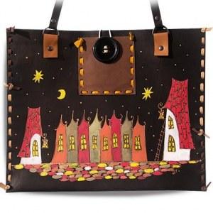 ebd77d75fe59 Кожаная сумка-планшет Ночной город, горизонтальная, черный фон, дизайн 1