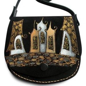 f9e88783d738 Сумочка через плечо кожаная Ночной город, черный фон, дизайн 1 (15х15х4 см)