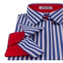 37ae8efe98f Женская рубашка под пуговицы синяя в полоску с яркой отделкой - 7350  DoubleCuff 7350