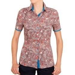 4f0223c5093 Приталенная женская рубашка с коротким рукавом с узором пейсли красная -  5042 DoubleCuff 5042